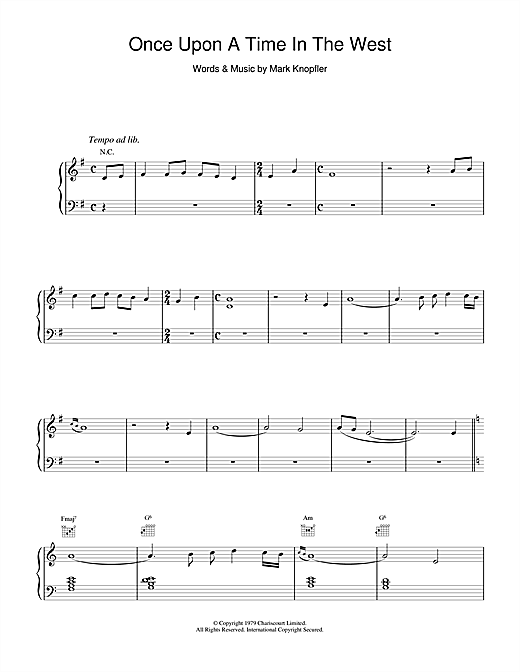 Dire Straits Once Upon A Time In The West sheet music notes and chords