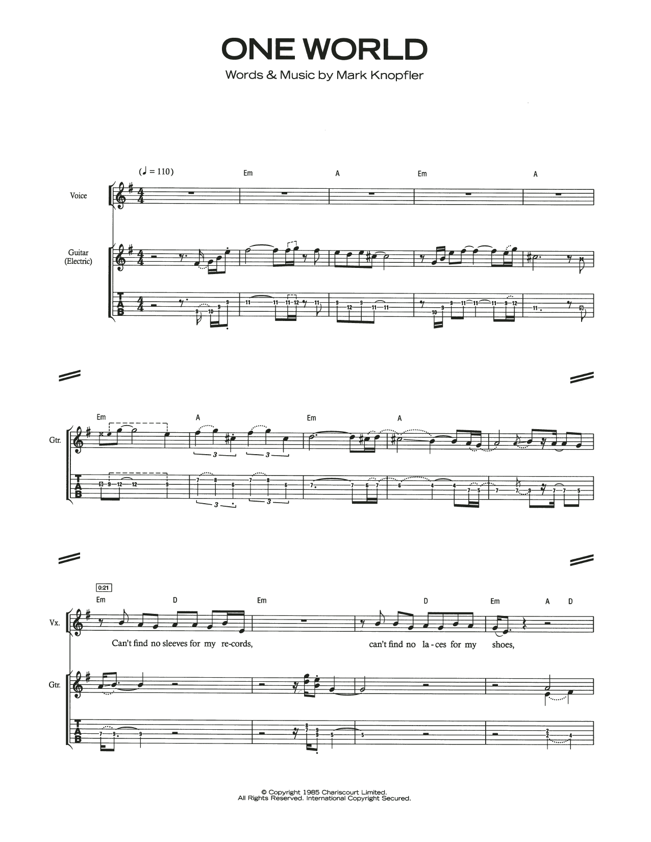 Dire Straits One World sheet music notes and chords. Download Printable PDF.