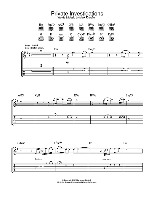 Dire Straits Private Investigations sheet music notes and chords. Download Printable PDF.