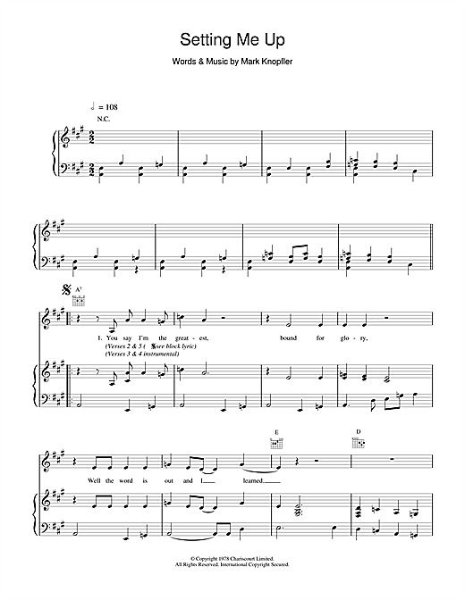 Dire Straits Setting Me Up sheet music notes and chords. Download Printable PDF.