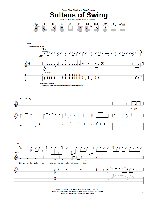 Dire Straits Sultans Of Swing sheet music notes and chords. Download Printable PDF.