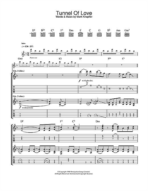Dire Straits Tunnel Of Love sheet music notes and chords. Download Printable PDF.