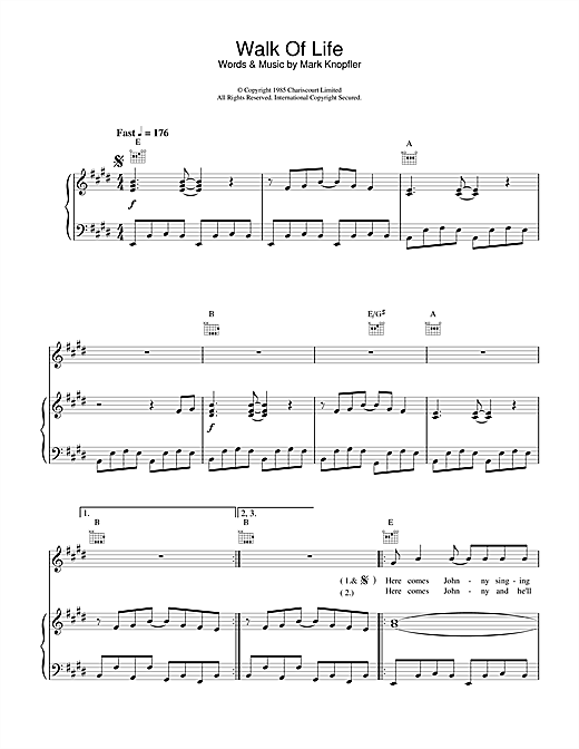 Dire Straits Walk Of Life sheet music notes and chords. Download Printable PDF.