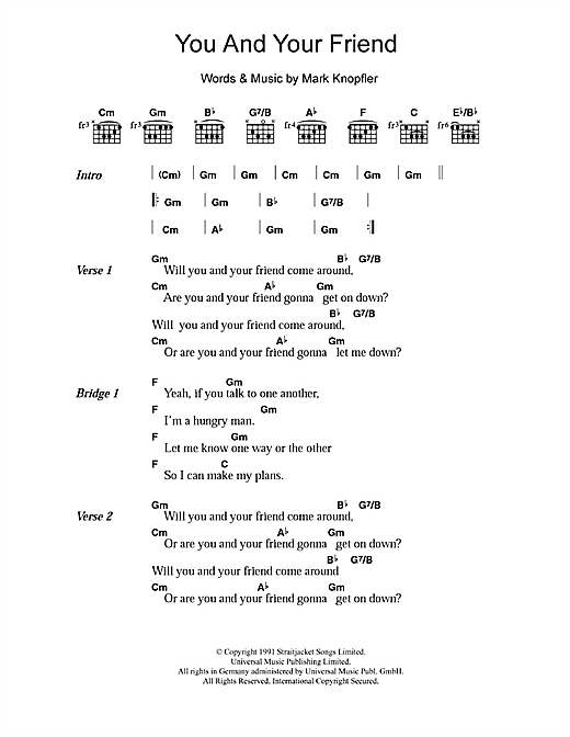 Dire Straits You And Your Friend sheet music notes and chords. Download Printable PDF.