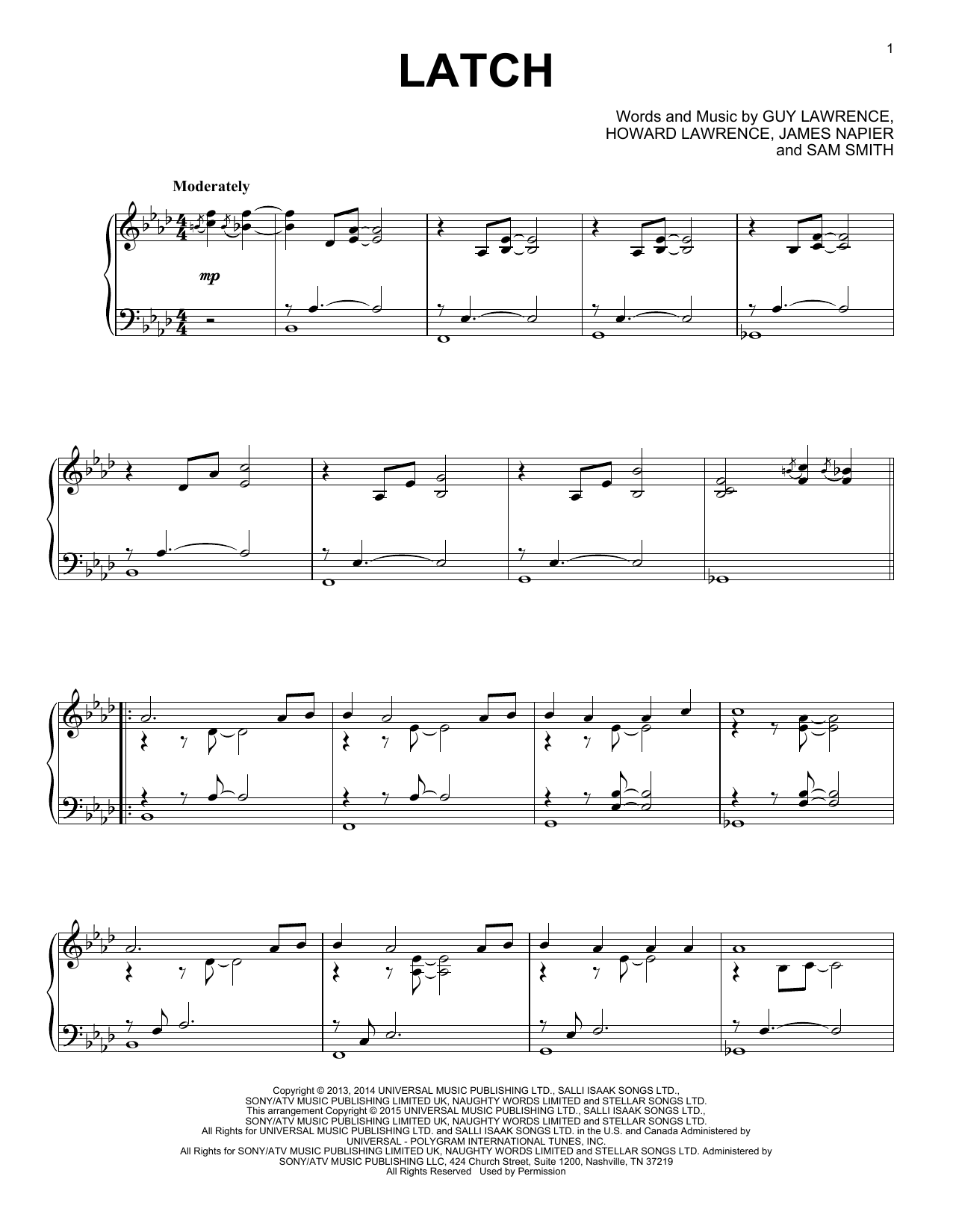 Disclosure Latch (feat. Sam Smith) sheet music notes and chords. Download Printable PDF.