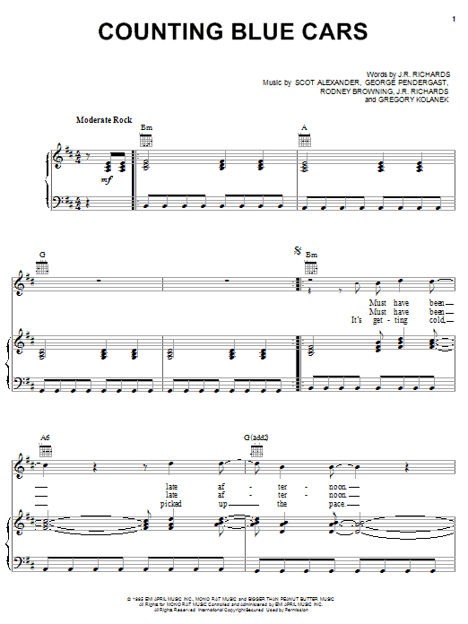 Dishwalla Counting Blue Cars sheet music notes and chords
