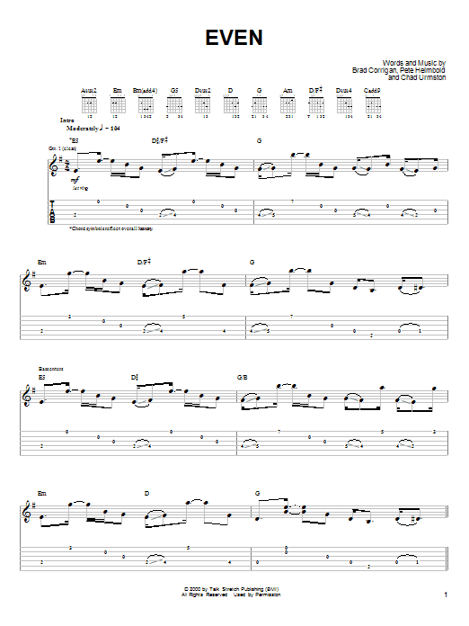 Dispatch Even sheet music notes and chords. Download Printable PDF.