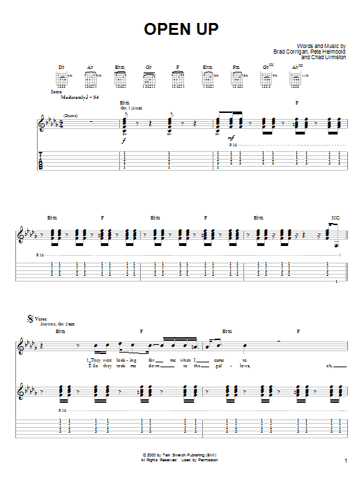 Dispatch Open Up sheet music notes and chords. Download Printable PDF.