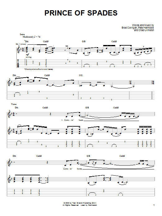 Dispatch Prince Of Spades sheet music notes and chords