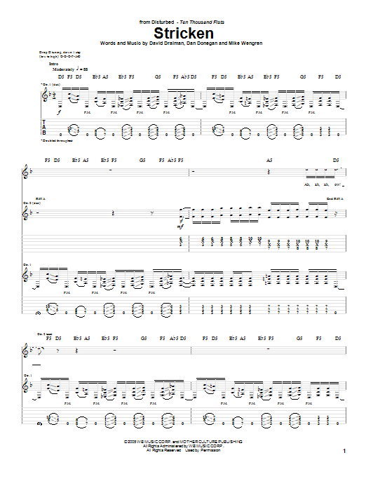 Disturbed Stricken sheet music notes and chords. Download Printable PDF.