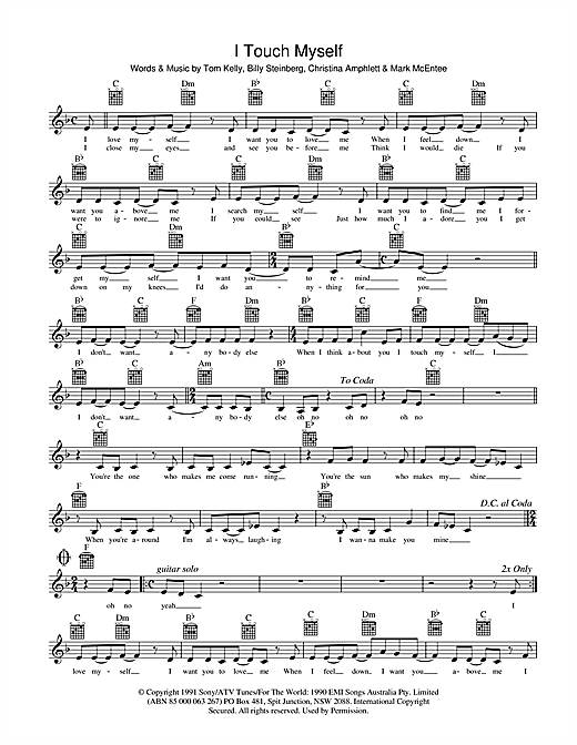 Divinyls I Touch Myself sheet music notes and chords. Download Printable PDF.