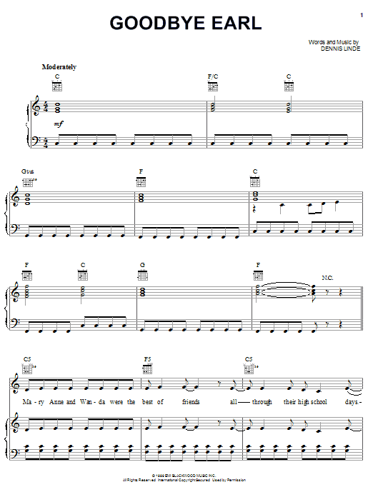 Dixie Chicks Goodbye Earl sheet music notes and chords