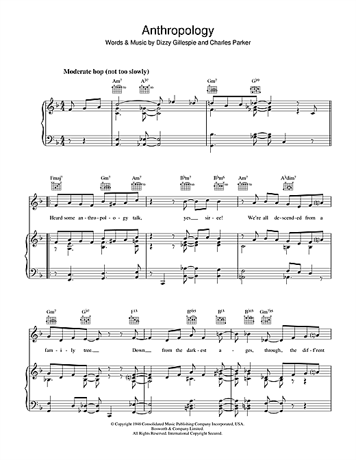 Dizzy Gillespie Anthropology sheet music notes and chords. Download Printable PDF.