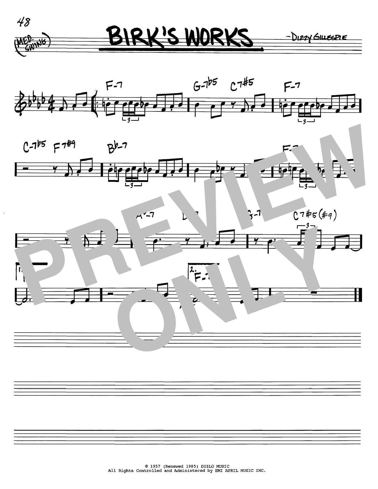Dizzy Gillespie Birk's Works sheet music notes and chords. Download Printable PDF.