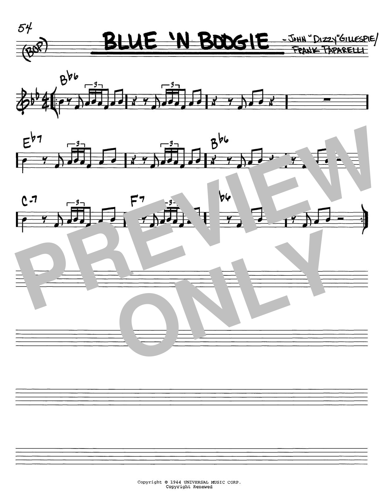 Dizzy Gillespie Blue 'N Boogie sheet music notes and chords. Download Printable PDF.