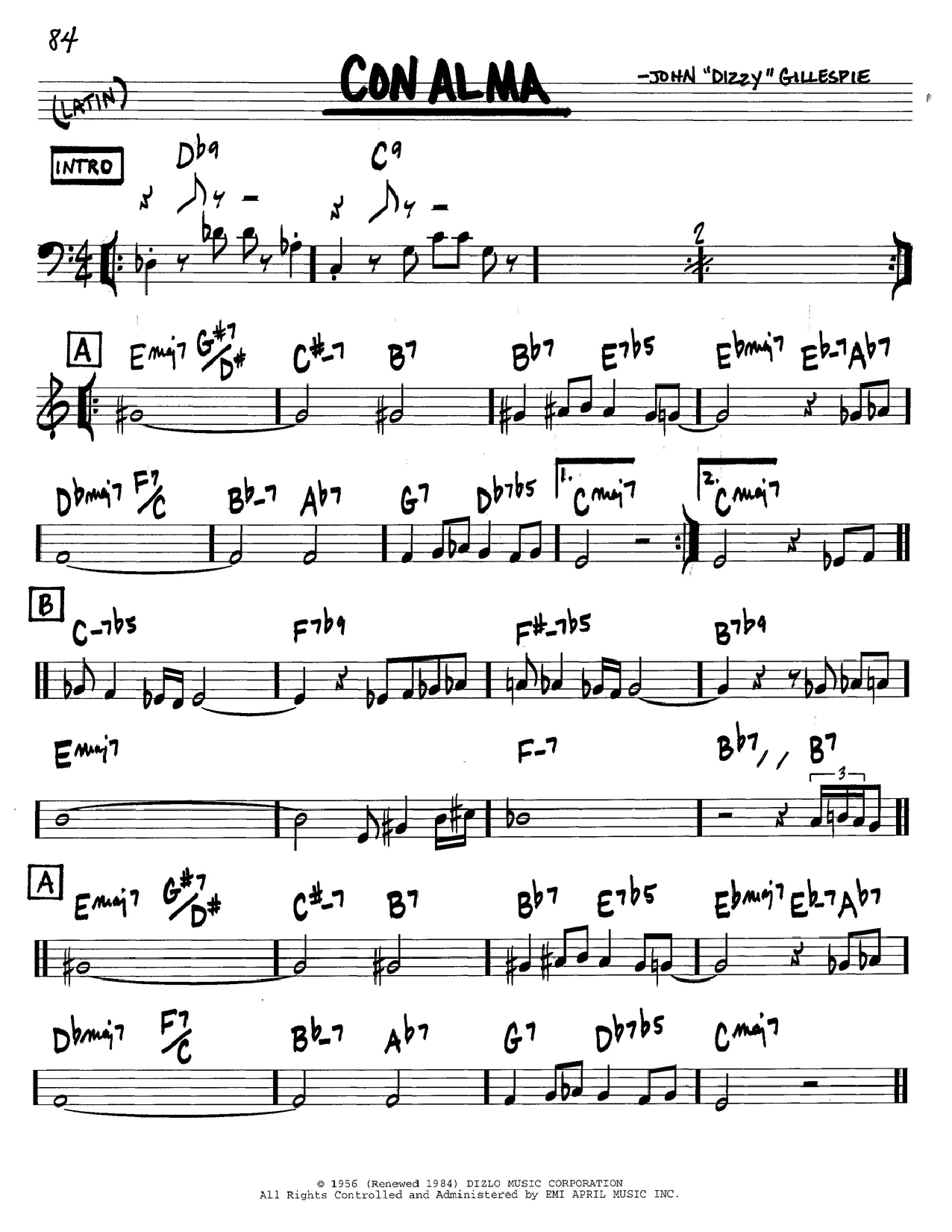 Dizzy Gillespie Con Alma sheet music notes and chords. Download Printable PDF.