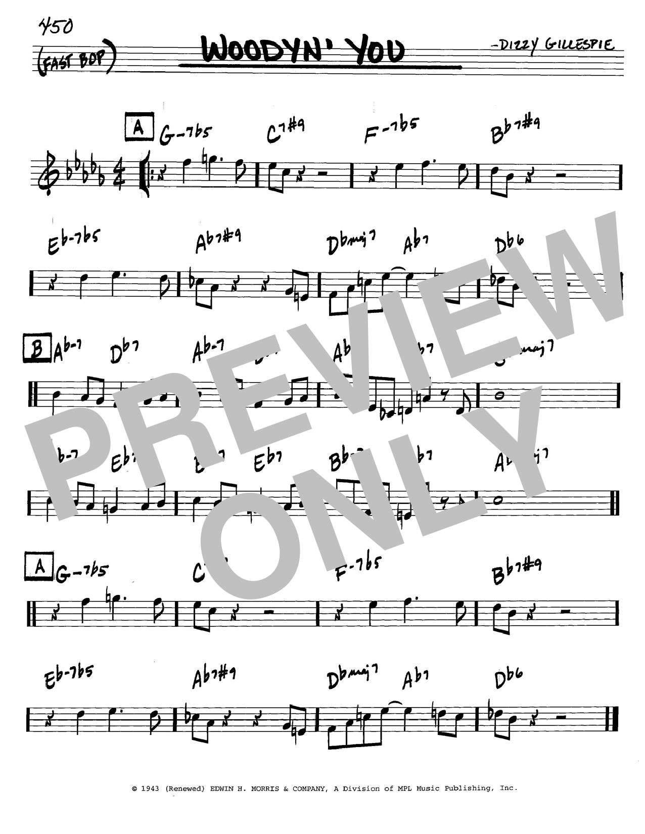 Dizzy Gillespie Woodyn' You sheet music notes and chords