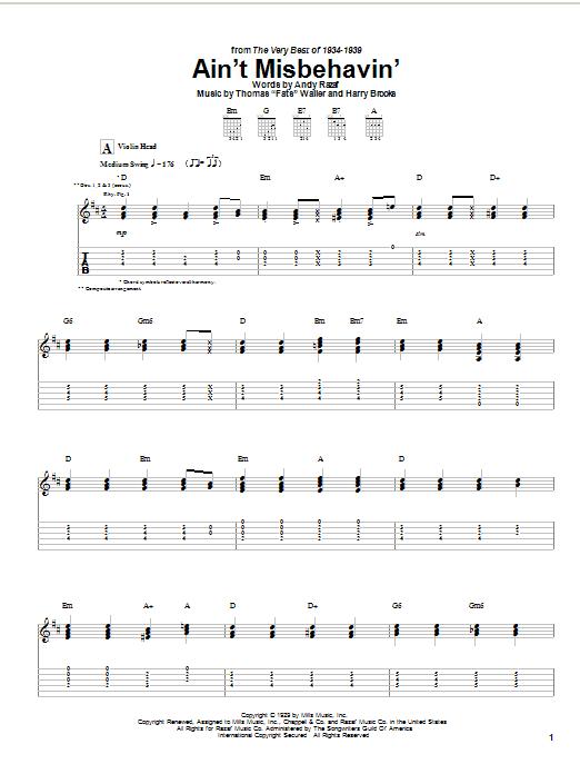 Django Reinhardt Ain't Misbehavin' sheet music notes and chords. Download Printable PDF.