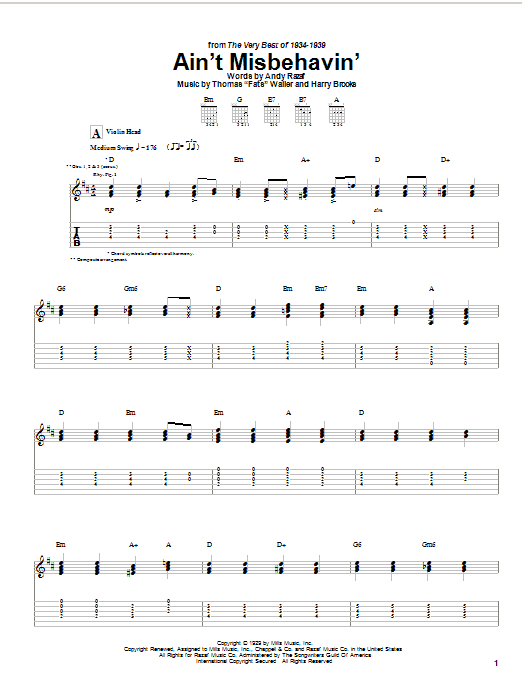 Django Reinhardt Ain't Misbehavin' sheet music notes and chords. Download Printable PDF.