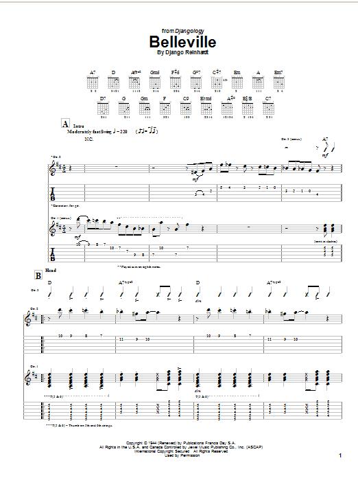 Django Reinhardt Belleville sheet music notes and chords. Download Printable PDF.