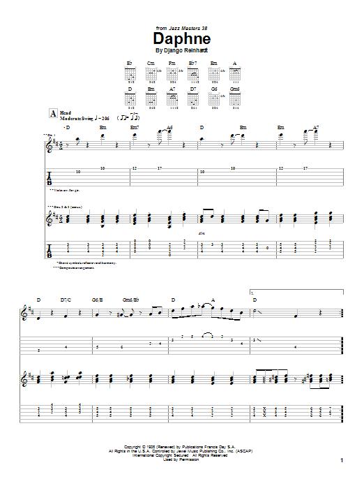 Django Reinhardt Daphne sheet music notes and chords