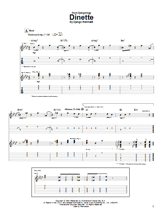 Django Reinhardt Dinette sheet music notes and chords. Download Printable PDF.