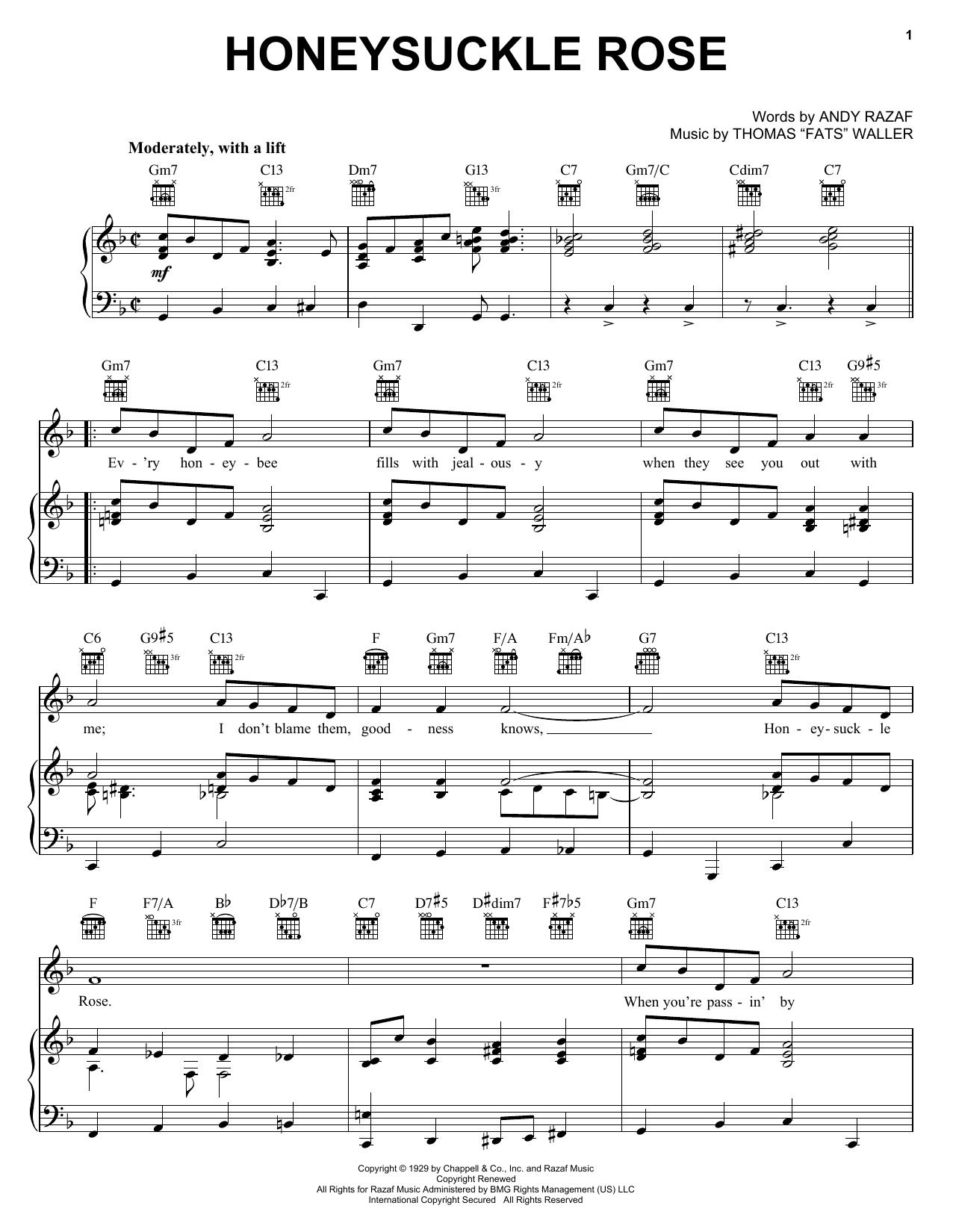 Django Reinhardt Honeysuckle Rose sheet music notes and chords. Download Printable PDF.