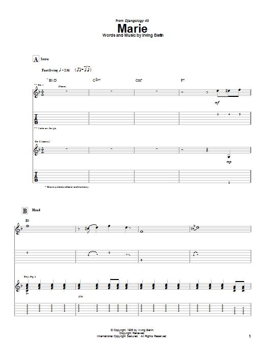 Django Reinhardt Marie sheet music notes and chords. Download Printable PDF.