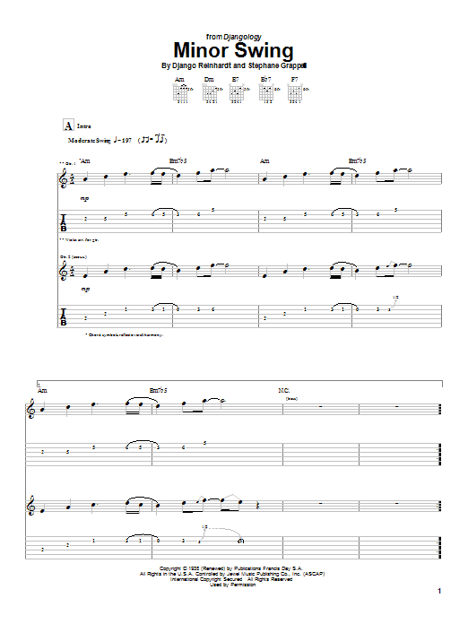 Django Reinhardt Minor Swing sheet music notes and chords. Download Printable PDF.