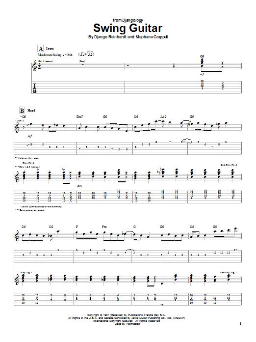 Django Reinhardt Swing Guitar sheet music notes and chords
