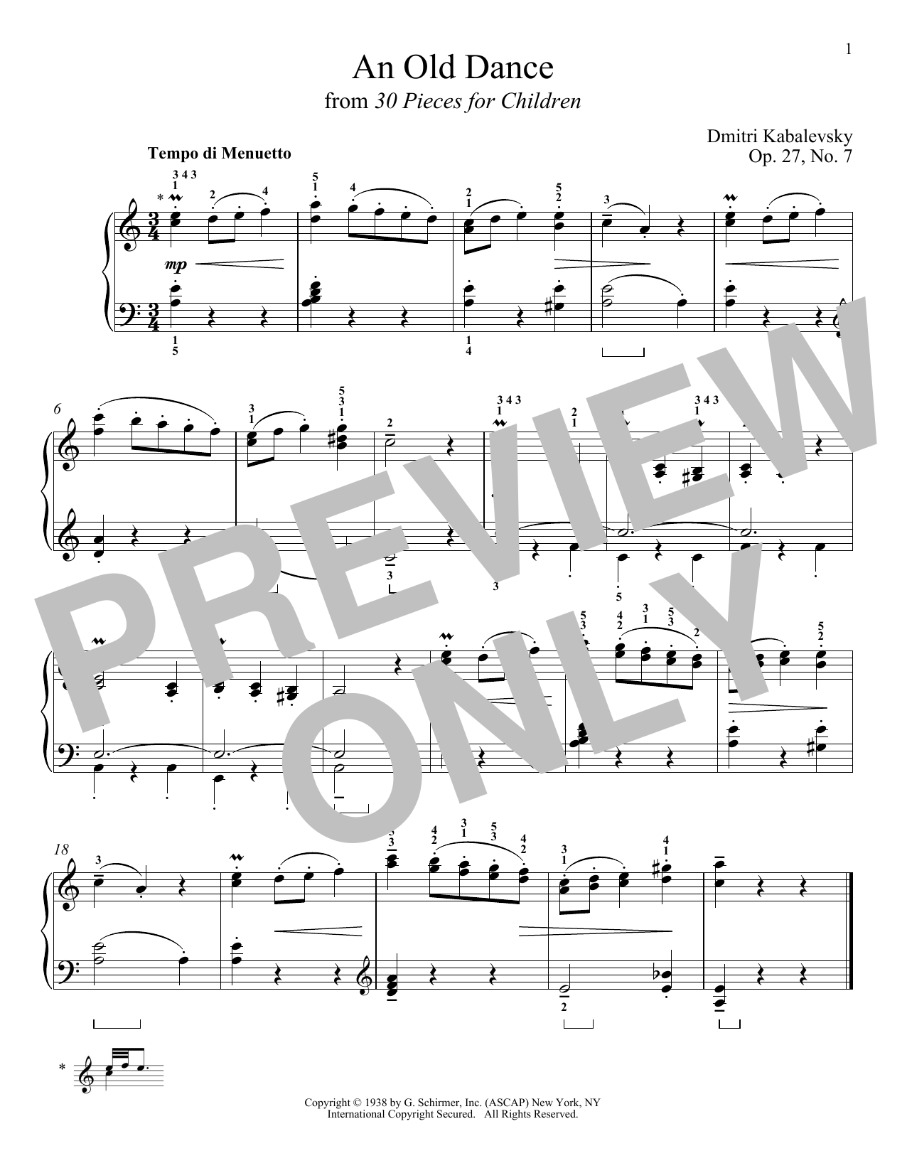 Dmitri Kabalevsky An Old Dance, Op. 27, No. 7 sheet music notes and chords. Download Printable PDF.