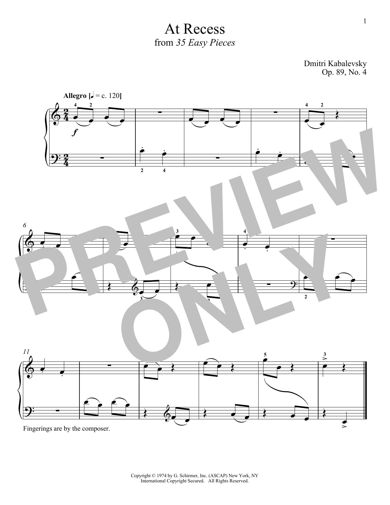 Dmitri Kabalevsky At Recess sheet music notes and chords. Download Printable PDF.