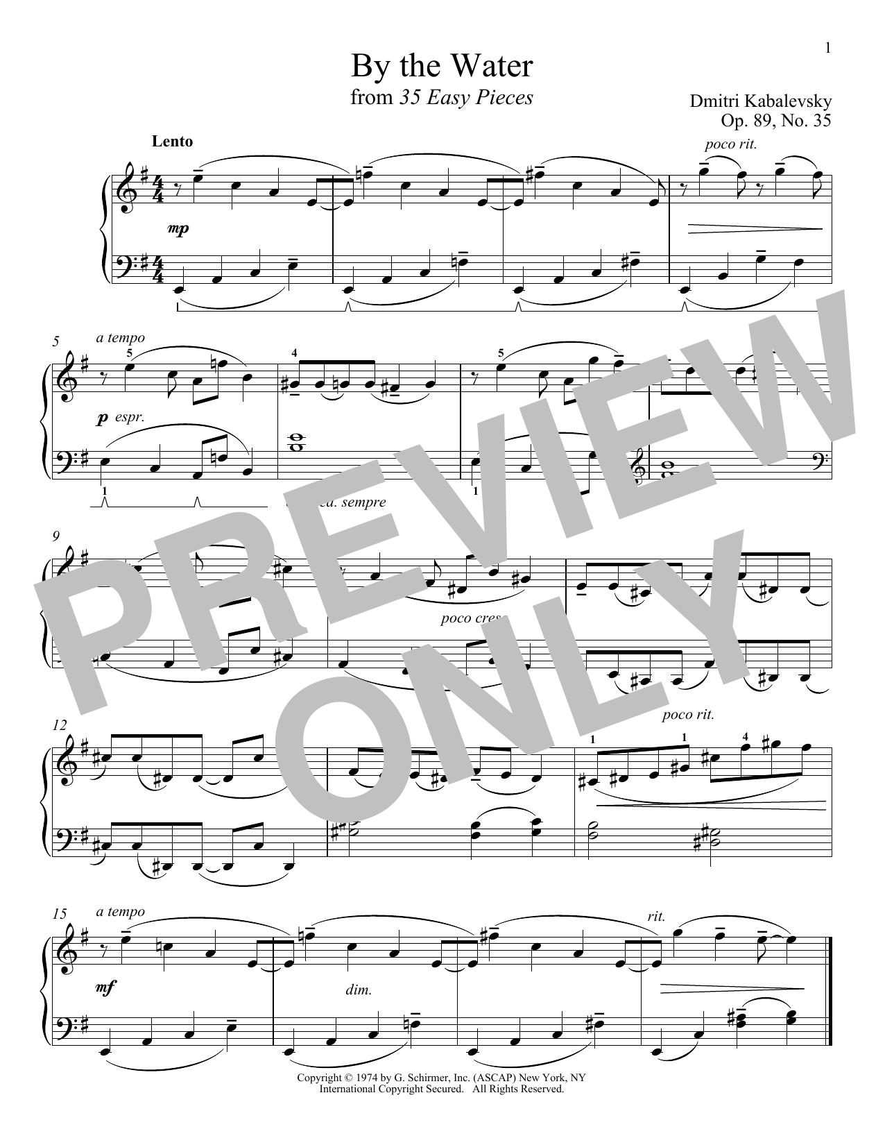 Dmitri Kabalevsky By The Water, Op. 89, No. 35 sheet music notes and chords