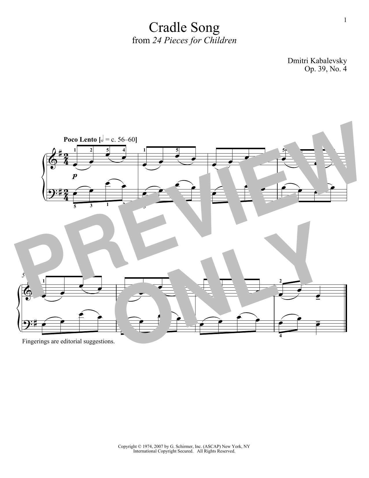 Dmitri Kabalevsky Cradle Song, Op. 39, No. 4 sheet music notes and chords. Download Printable PDF.
