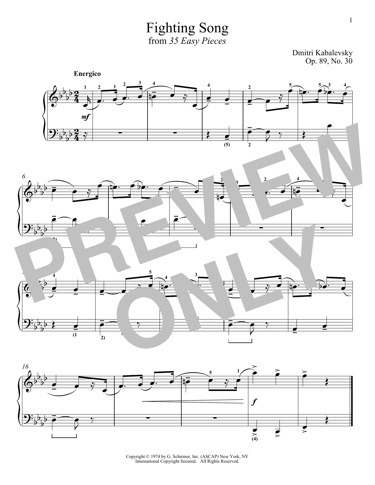 Dmitri Kabalevsky Fighting Song, Op. 89, No. 30 sheet music notes and chords. Download Printable PDF.
