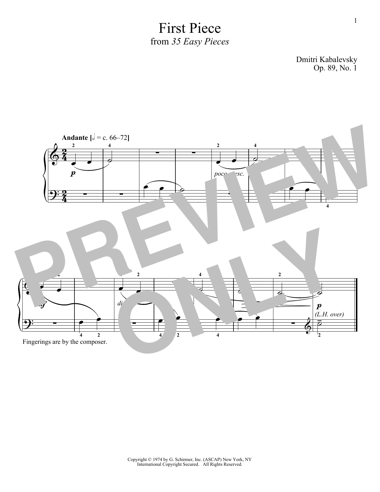 Dmitri Kabalevsky First Piece, Op. 89, No. 1 sheet music notes and chords. Download Printable PDF.
