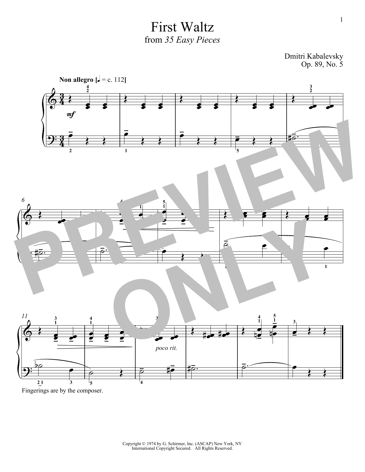 Dmitri Kabalevsky First Waltz sheet music notes and chords