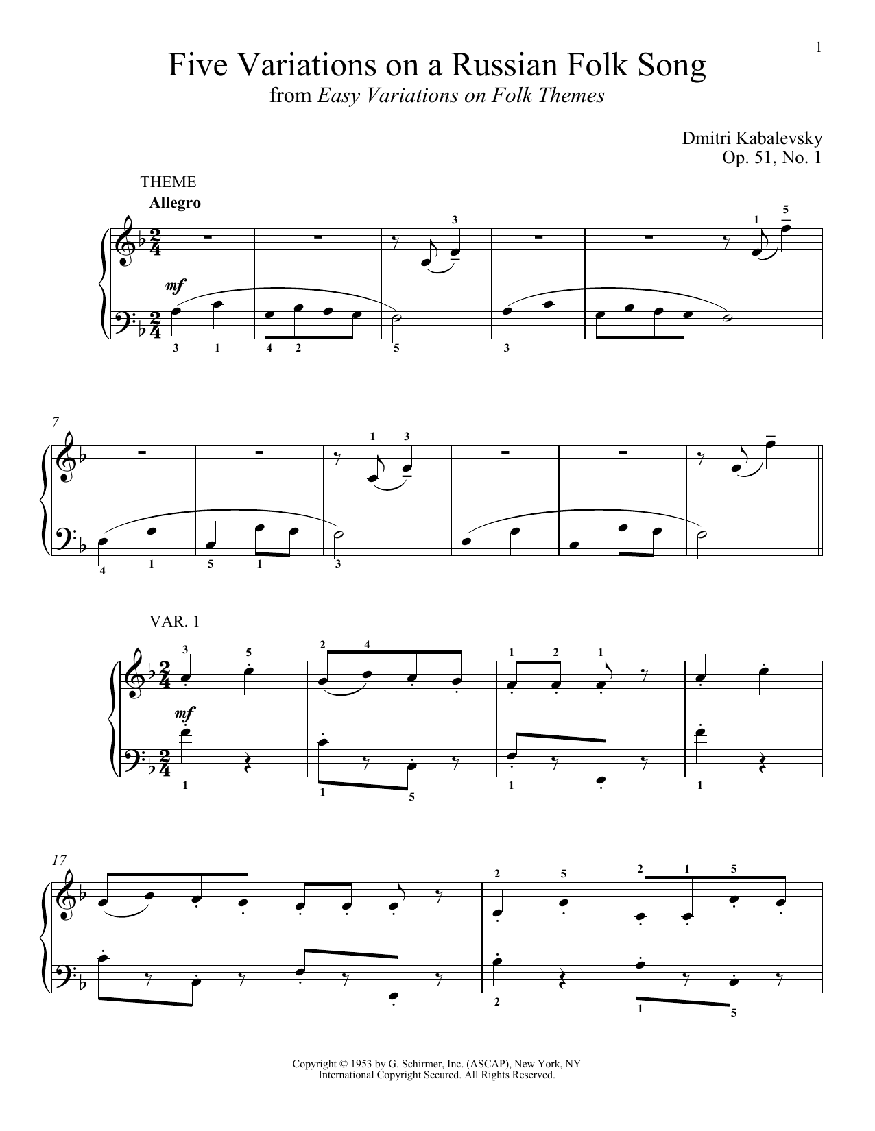Dmitri Kabalevsky Five Variations On A Russian Folk Song, Op. 51, No. 1 sheet music notes and chords. Download Printable PDF.