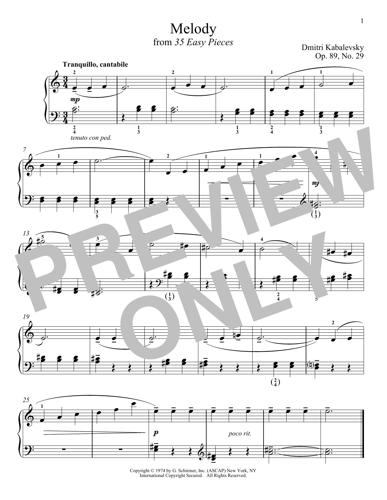 Dmitri Kabalevsky Melody, Op. 89, No. 29 sheet music notes and chords. Download Printable PDF.