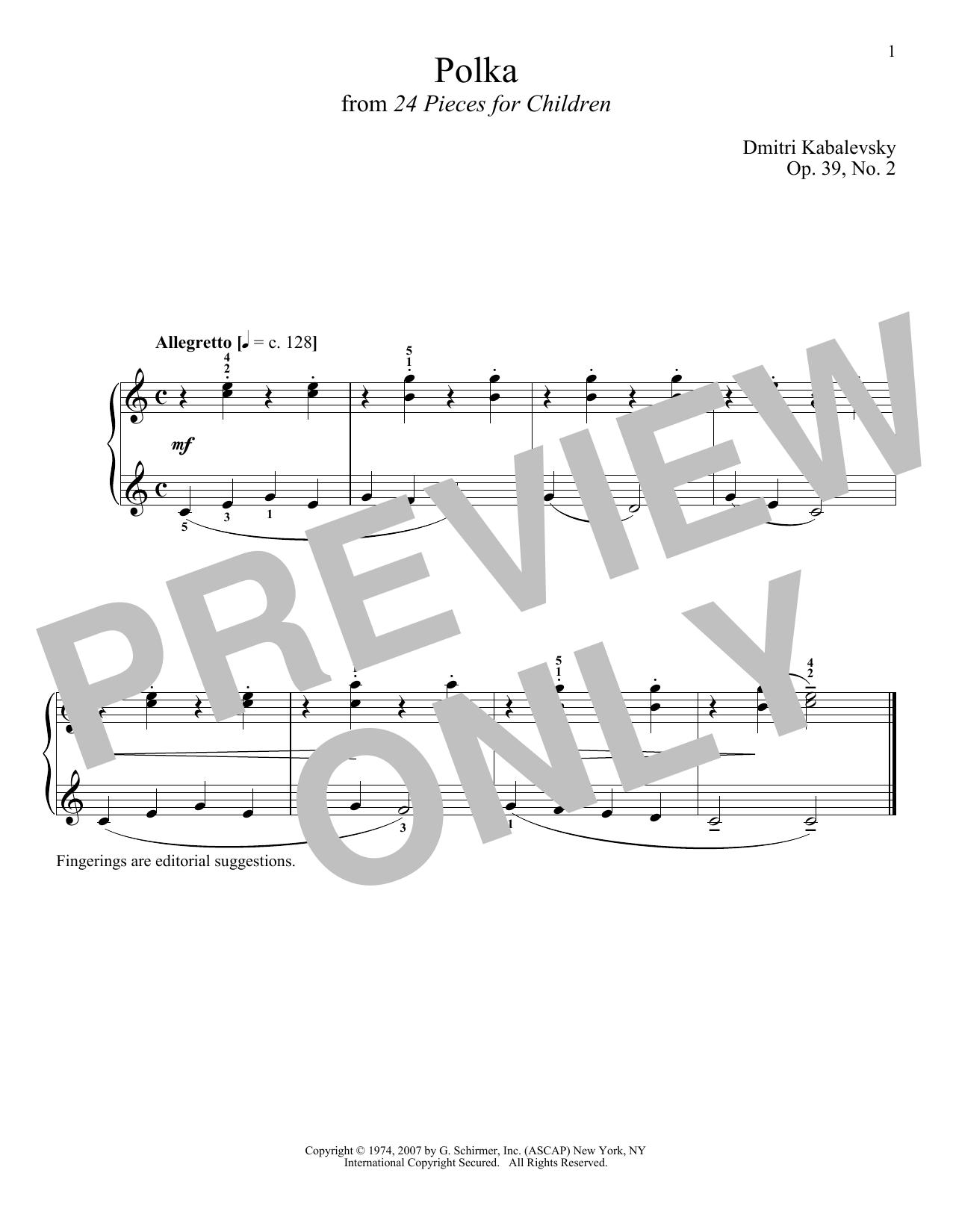 Dmitri Kabalevsky Polka, Op. 39, No. 2 sheet music notes and chords