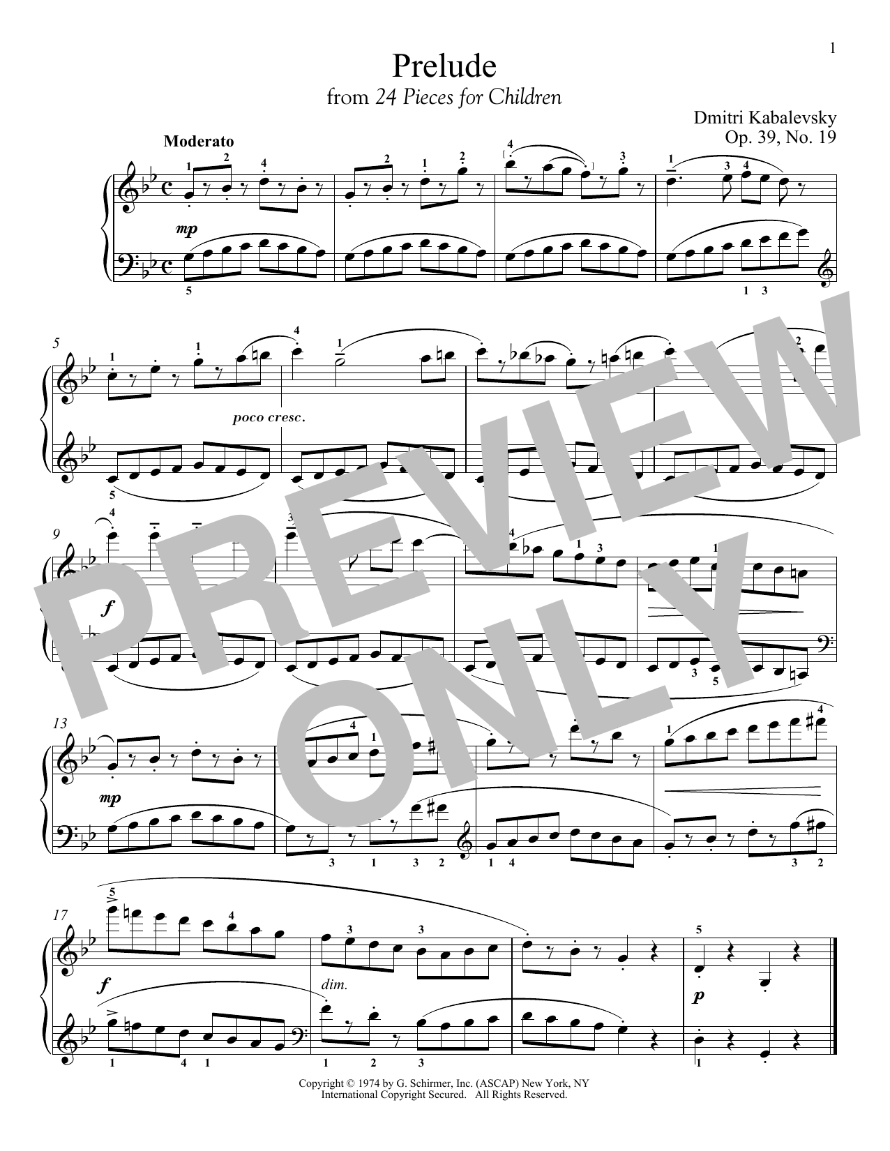 Dmitri Kabalevsky Prelude, Op. 39, No. 19 sheet music notes and chords