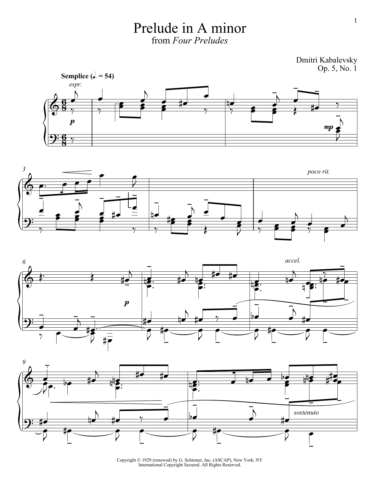 Dmitri Kabalevsky Prelude In A Minor, Op. 5, No. 1 sheet music notes and chords. Download Printable PDF.