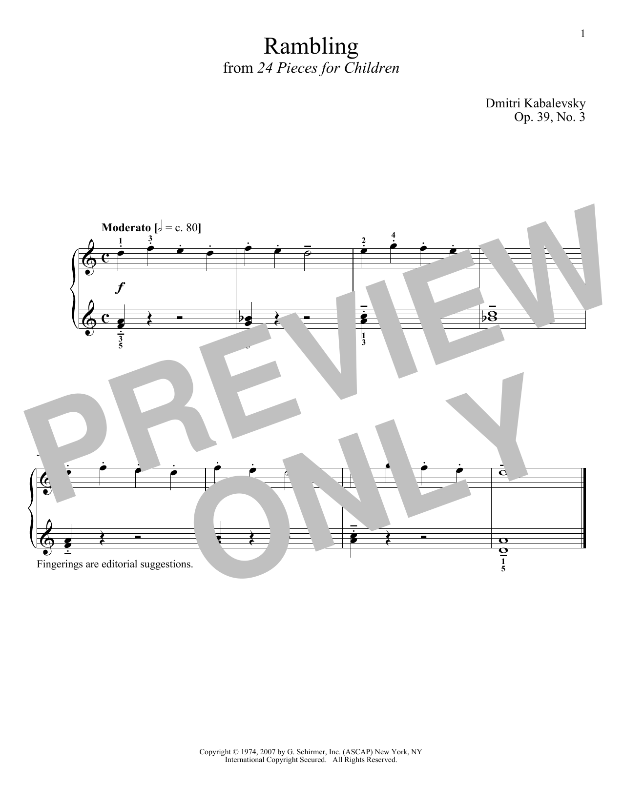 Dmitri Kabalevsky Rambling, Op. 39, No. 3 sheet music notes and chords. Download Printable PDF.