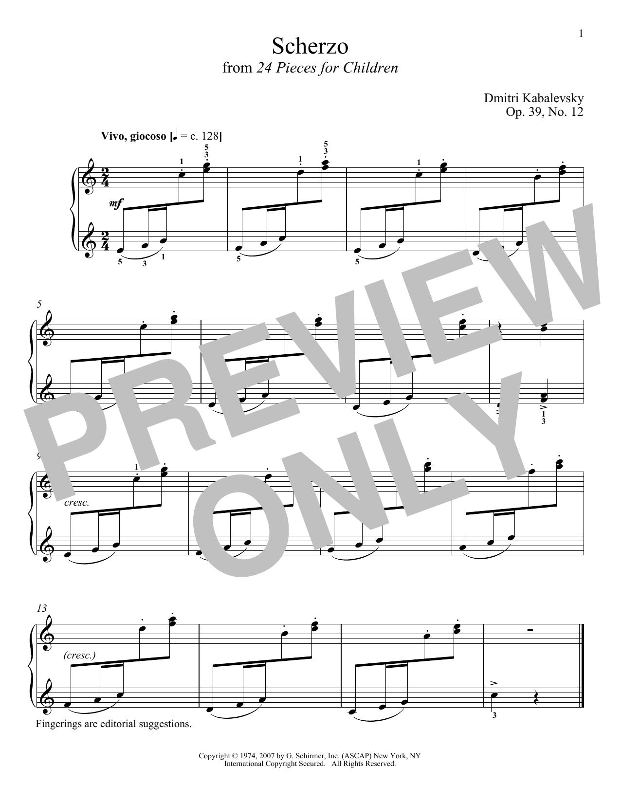 Dmitri Kabalevsky Scherzo, Op. 39, No. 12 sheet music notes and chords. Download Printable PDF.