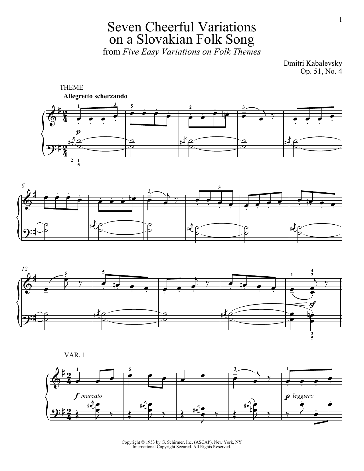 Dmitri Kabalevsky Seven Cheerful Variations On A Slovakian Folk Song, Op. 51, No. 4 sheet music notes and chords. Download Printable PDF.