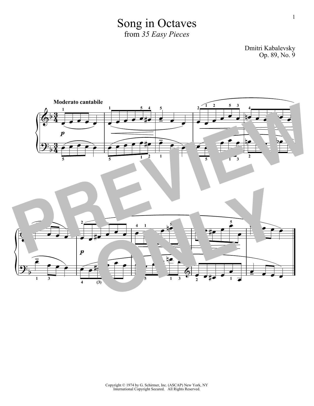 Dmitri Kabalevsky Song In Octaves sheet music notes and chords. Download Printable PDF.