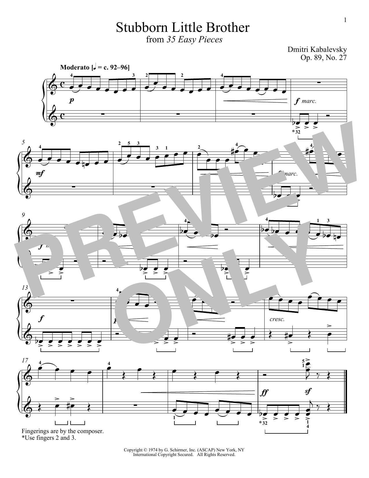 Dmitri Kabalevsky Stubborn Little Brother, Op. 89, No. 27 sheet music notes and chords. Download Printable PDF.