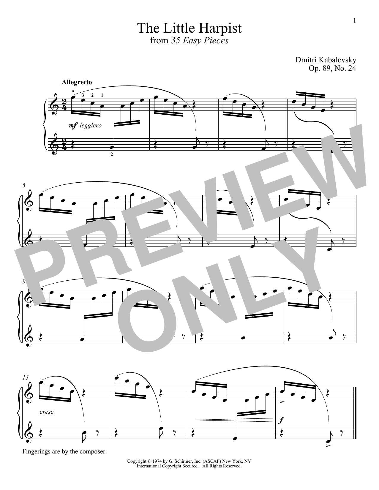 Dmitri Kabalevsky The Little Harpist, Op. 89, No. 24 sheet music notes and chords. Download Printable PDF.