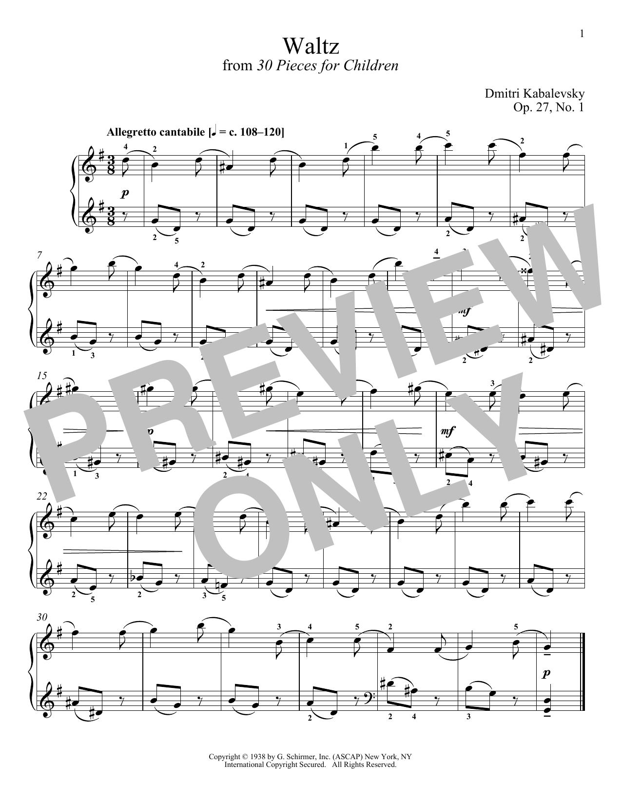 Dmitri Kabalevsky Waltz, Op. 27, No. 1 sheet music notes and chords. Download Printable PDF.