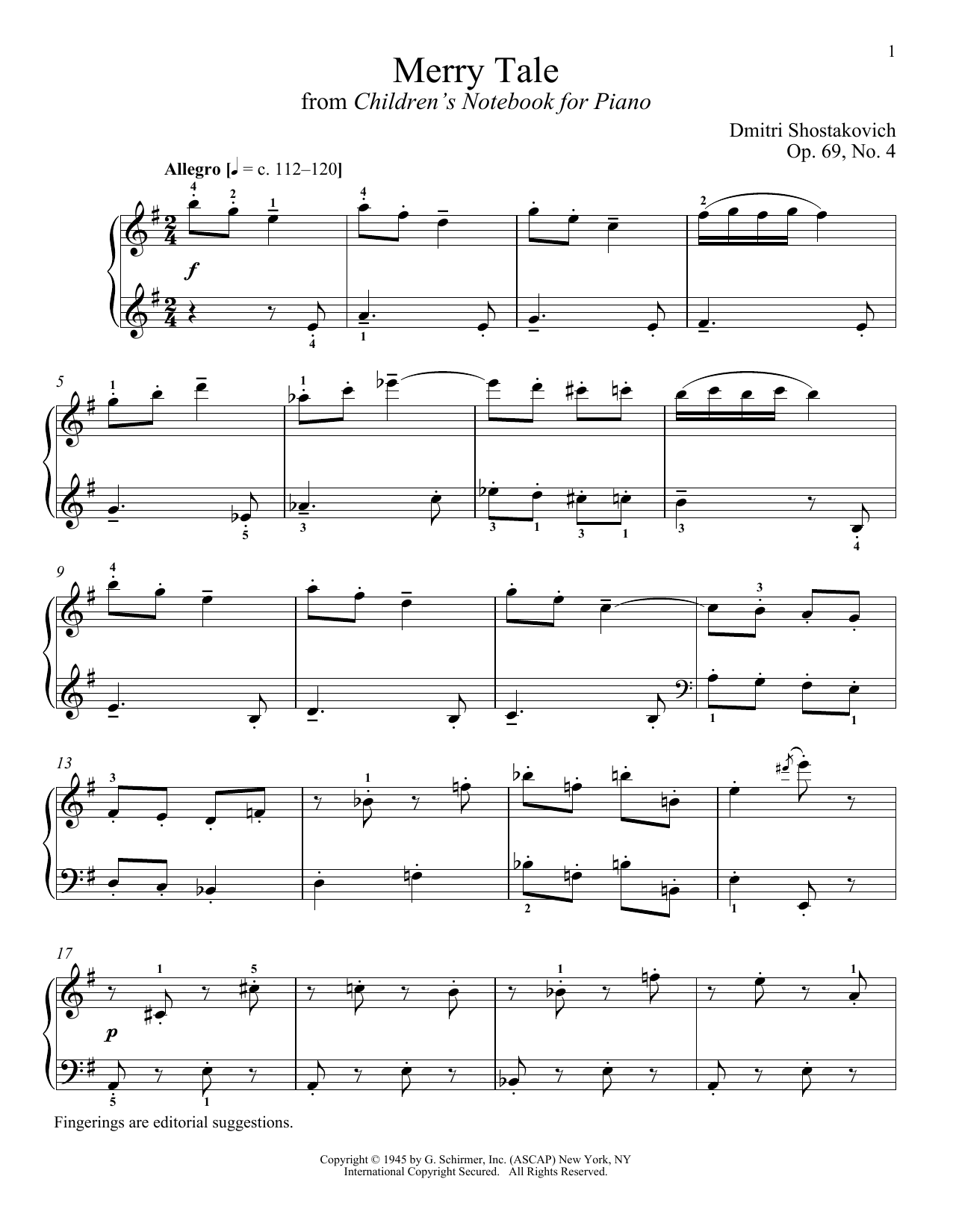 Dmitri Shostakovich Merry Tale sheet music notes and chords. Download Printable PDF.